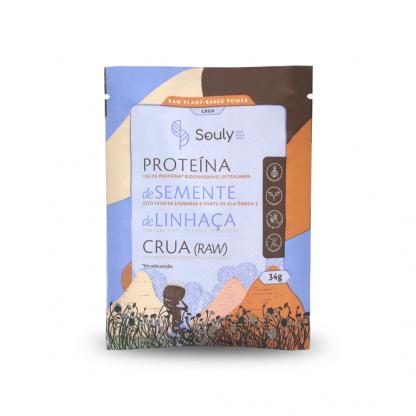 Proteina de Semente de Linhaca Crua Souly Sache de 34g