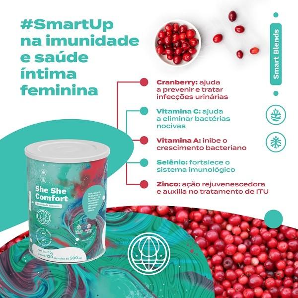 Imunidade Feminina - She She Comfort - Cranberry Em Pó, Vitamina C, Zinco, Selênio E Vitamina E (120 Caps)