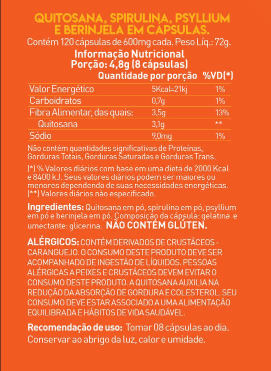 SLIM SHAPE - Blend Quitosana+Spirulina+ Psyllium+Berinjela - 120 caps