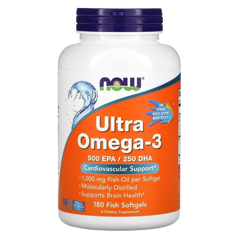 Ultra Omega-3 500 EPA/250 DHA - 180 Capsulas Gelatinosas - NOW FOODS