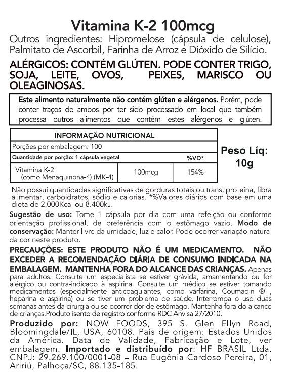 Vitamina K2 100 MCG - 100 cápsulas Now Foods