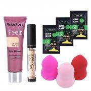 Kit Maquiagem: Base Feels - Corretivo Nude / Esponja + Máscaras de Brinde