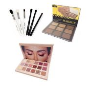 Kit Maquiagem Profissional Com Pó Facial / Paleta Sombra / Pincel WB500
