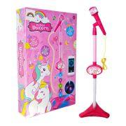 Microfone Infantil Unicorn e Spider Man com MP3 Pedestal Karaoke - HD8834
