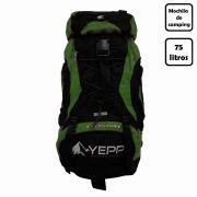 Mochila de Camping Yepp 75 Litros Semimpermeável e Resistente para Viagens e Trilhas
