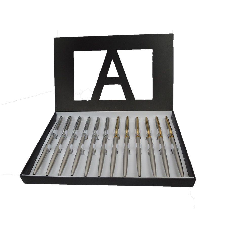 Kit com 12 Canetas Esferográficas Metálicas Finas e 12 Cartuchos de Tinta