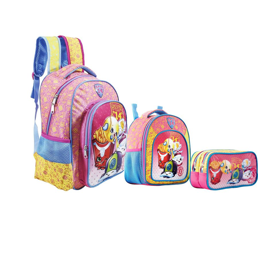 Kit C/ Mochila Costas Infantil + Lancheira + Estojo Shopkins SPK  - 6822K1