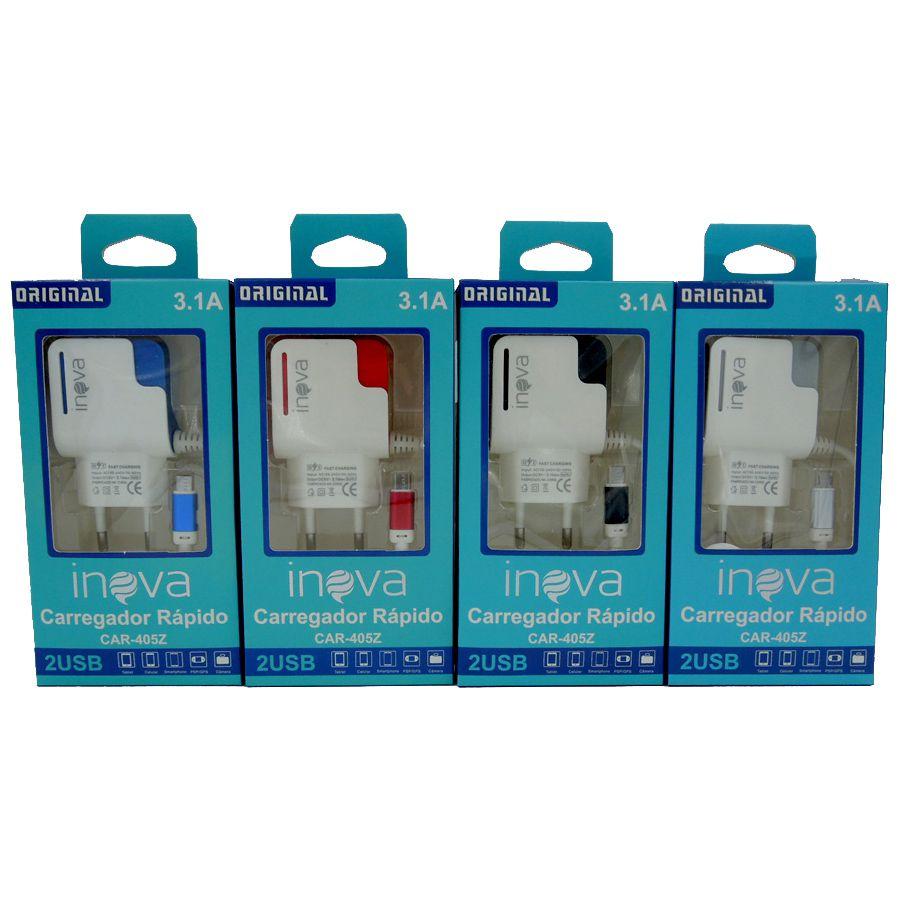 Kit com 15 Carregadores Inova Android com 2 Entradas USB Adicionais e Cabo Fixo - CAR-405ZK10