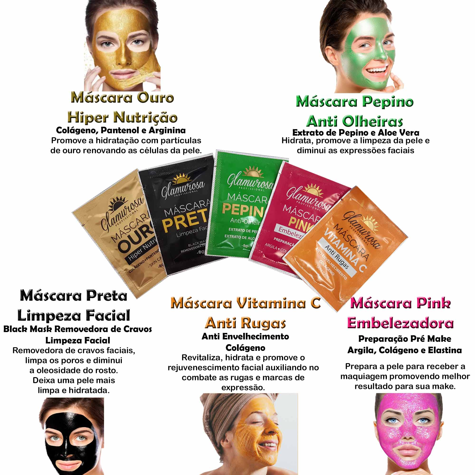 Kit com 5 Máscaras Faciais Profissionais Glamurosa
