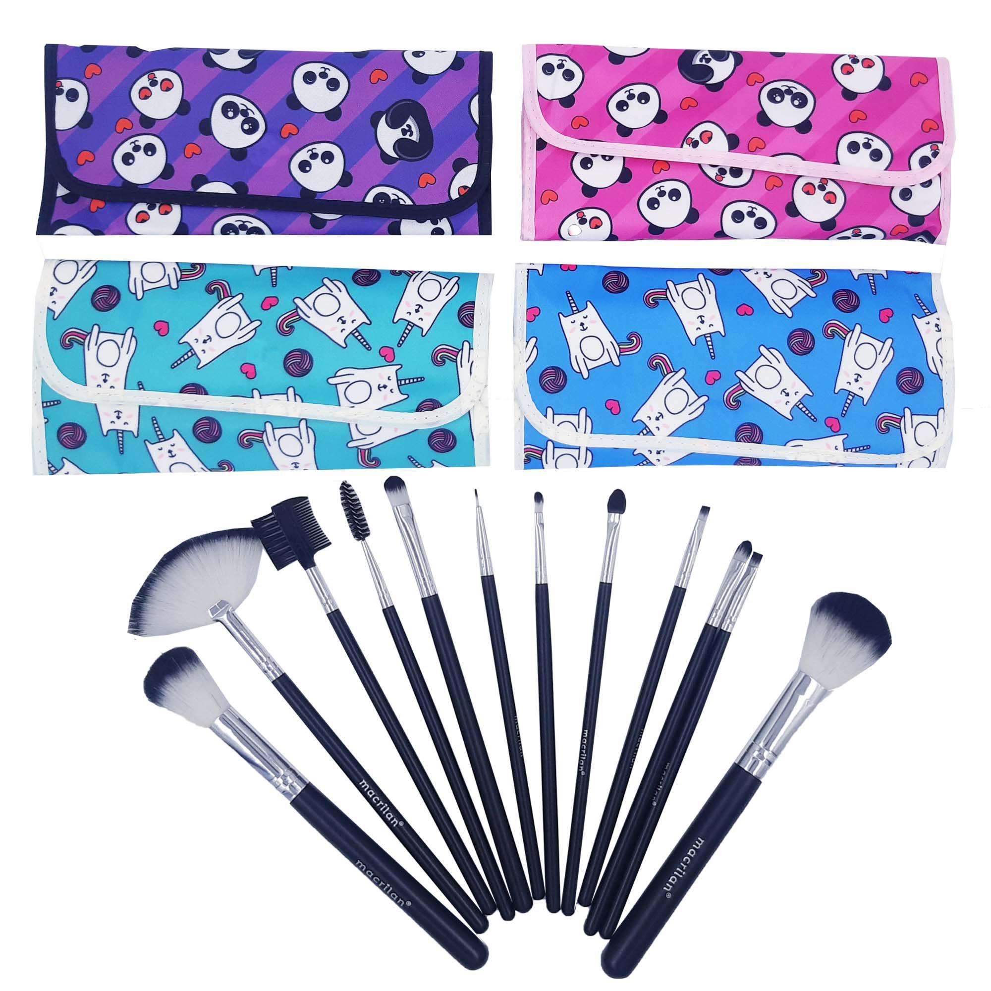 Kit de 12 Pincéis para Maquiagem Macrilan + 3 Esponjas P/ Base