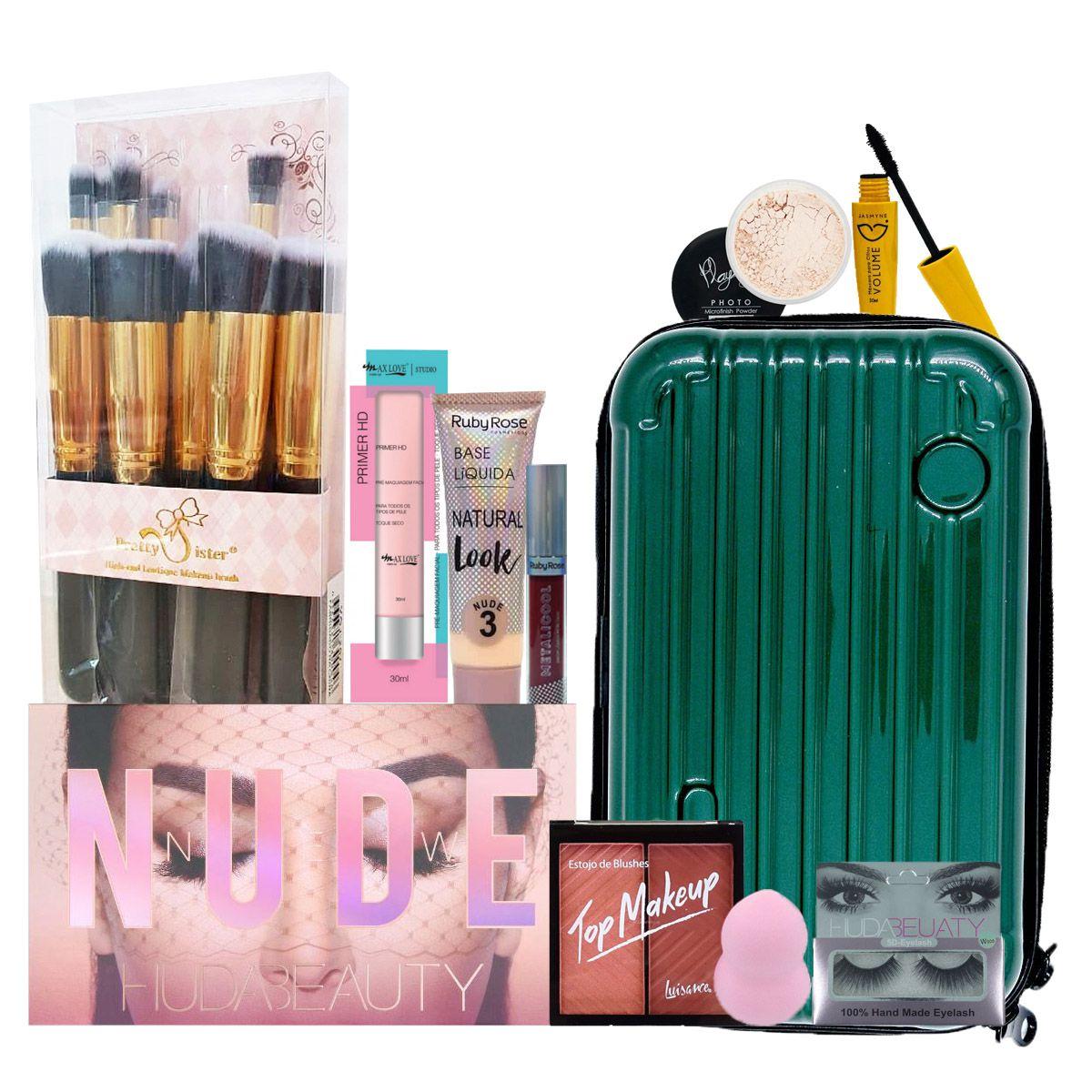 Kit De Maquiagem Paleta Nude Huda Beauty C/ BRINDE batom e necessaire de fibra