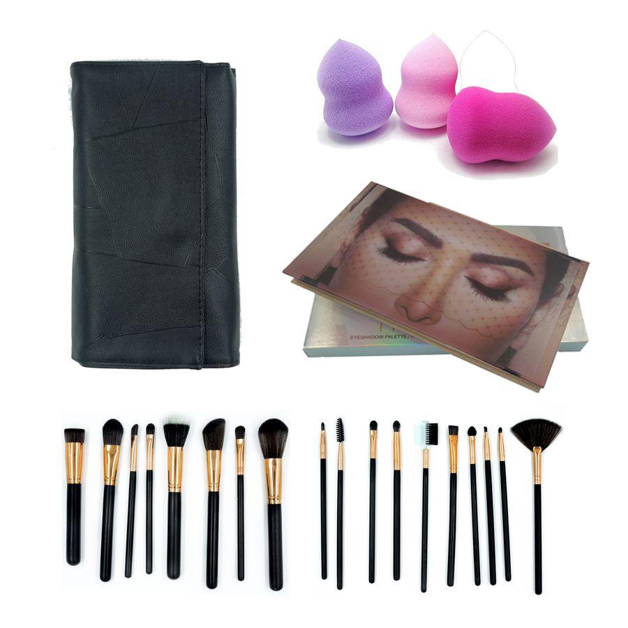 Kit Estojo com 18 Pincéis de Maquiagem + Paleta de Sombras + 3 Esponjas de Maquiagem