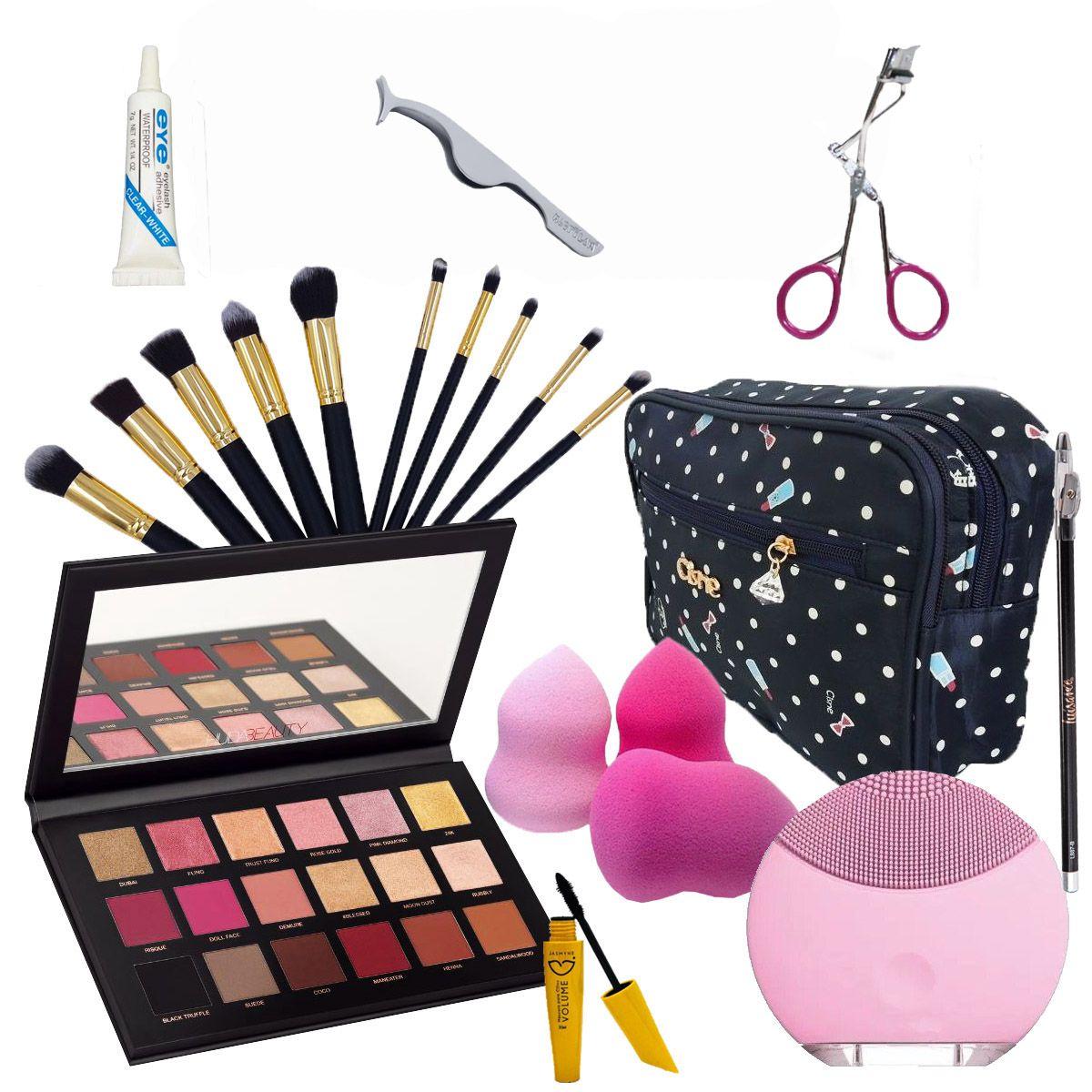 Kit Maquiagem Huda Beauty  C/ Necessaire e Escova De Limpeza Facial Elétrica