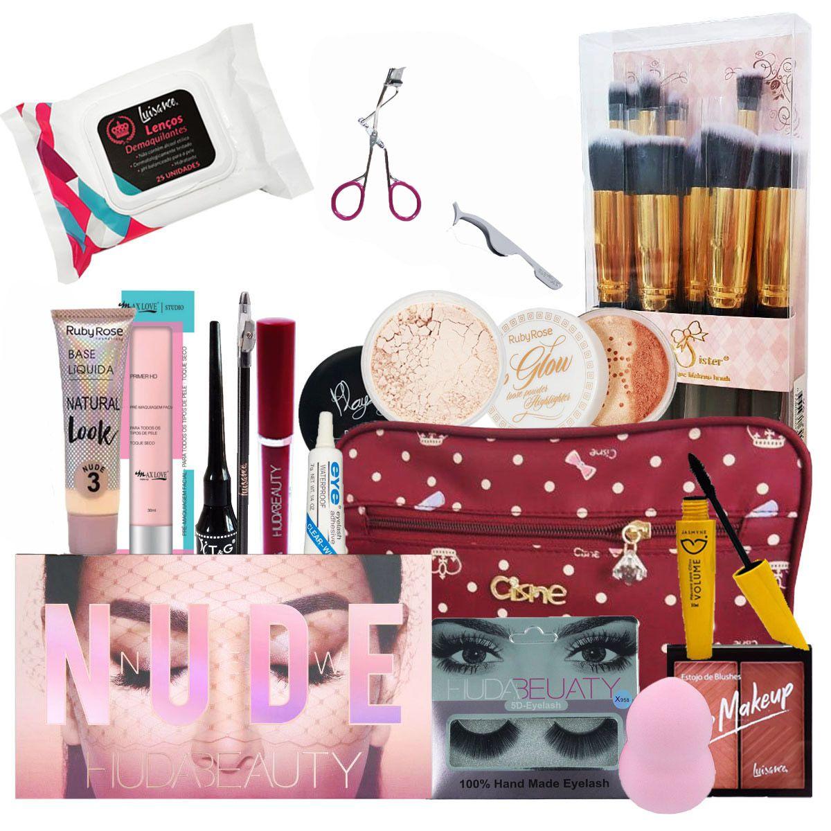 Kit Maquiagem Completo Huda Beauty - 27 Itens C/ BRINDES