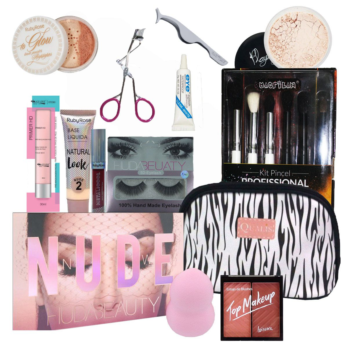 Kit Maquiagem Completo Profissional 13 Produtos - Huda Beauty