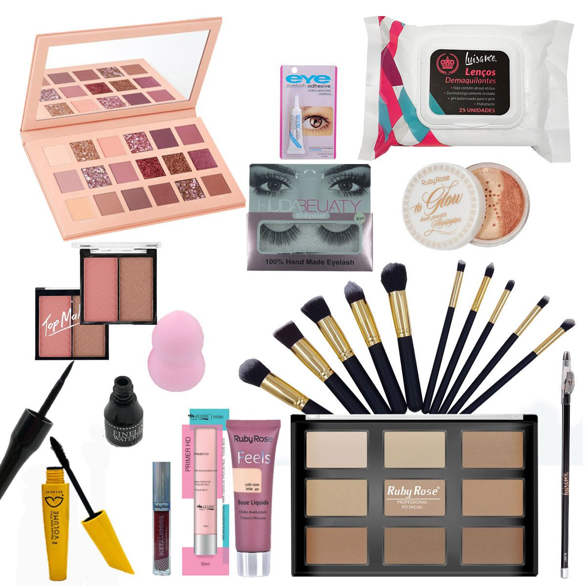 Kit Maquiagem Completo Huda Beauty e Ruby Rose C/BRINDE