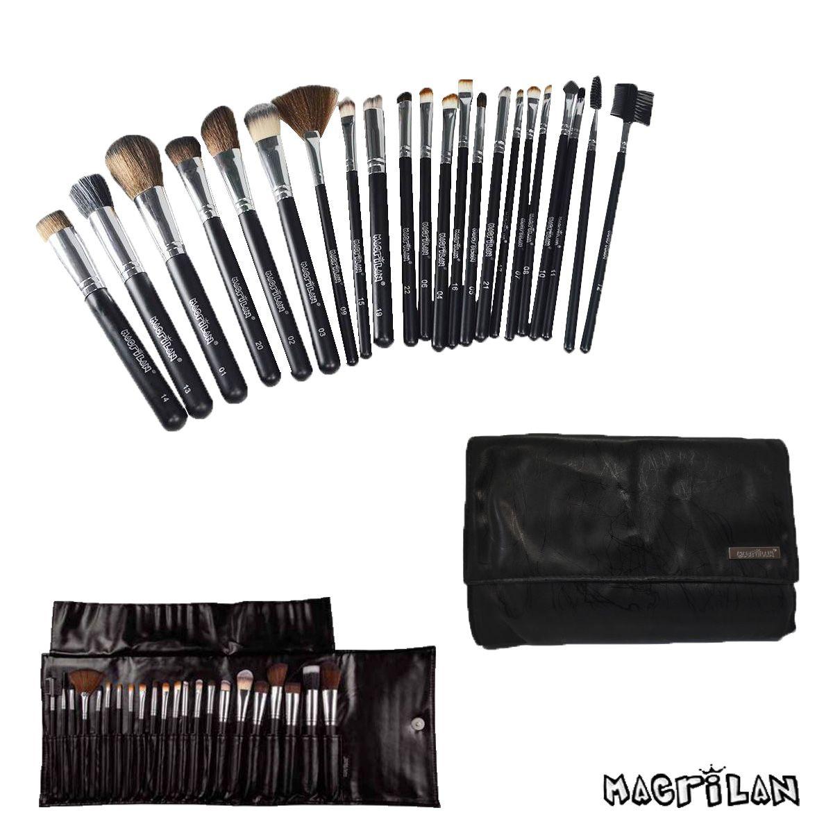 Kit Maquiagem Preparação de Pele Com Estojo de 22 Pincéis Macrilan