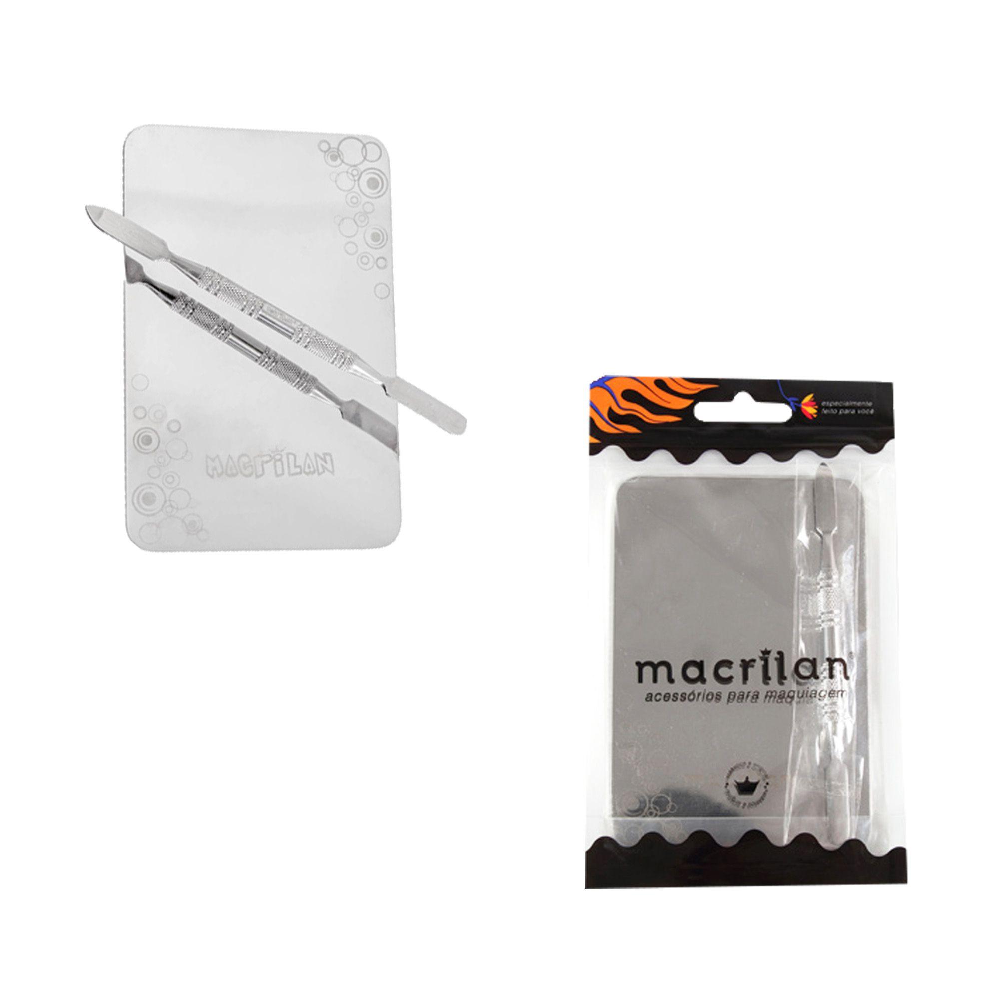 Kit Placa e espátula para maquiagem Macrilan - Mesclador de Líquidos