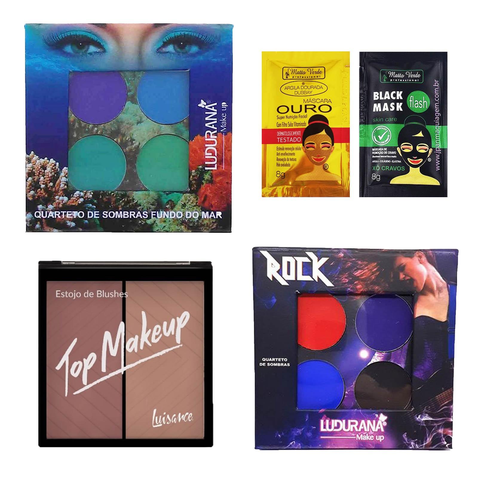 Maleta de Maquiagem Completa Ludurana - Kit de Pinceis Macrilan C/ Brinde