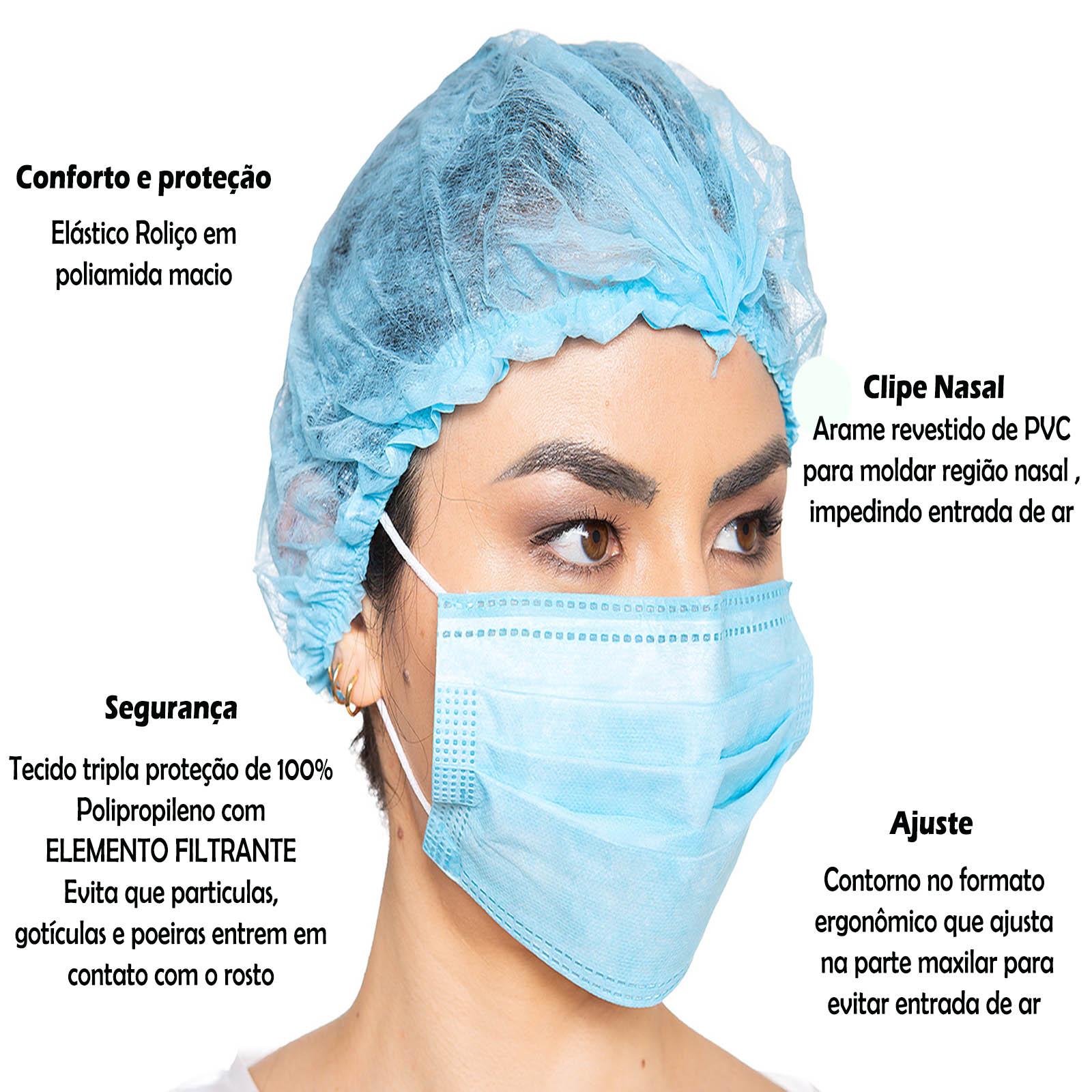 Máscara Descartável Cirúrgica Tripla Proteção C/ 10