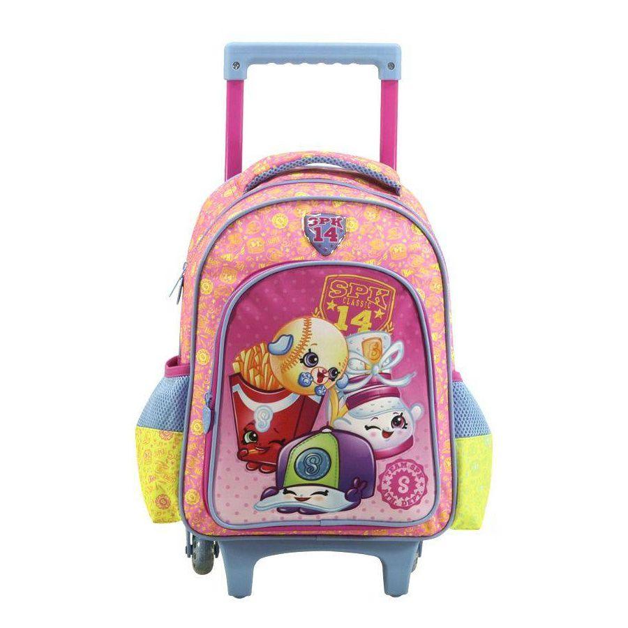 """Mochila Com Rodas Infantil 16"""" Shopkins Spk 6820"""