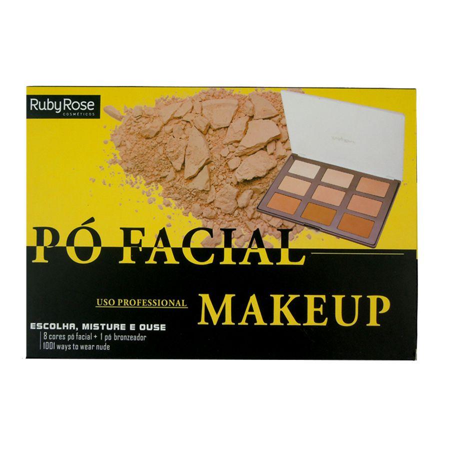 Paleta de Pó Facial Profissional Ruby Rose com 8 Cores e 1 Pó Bronzeador