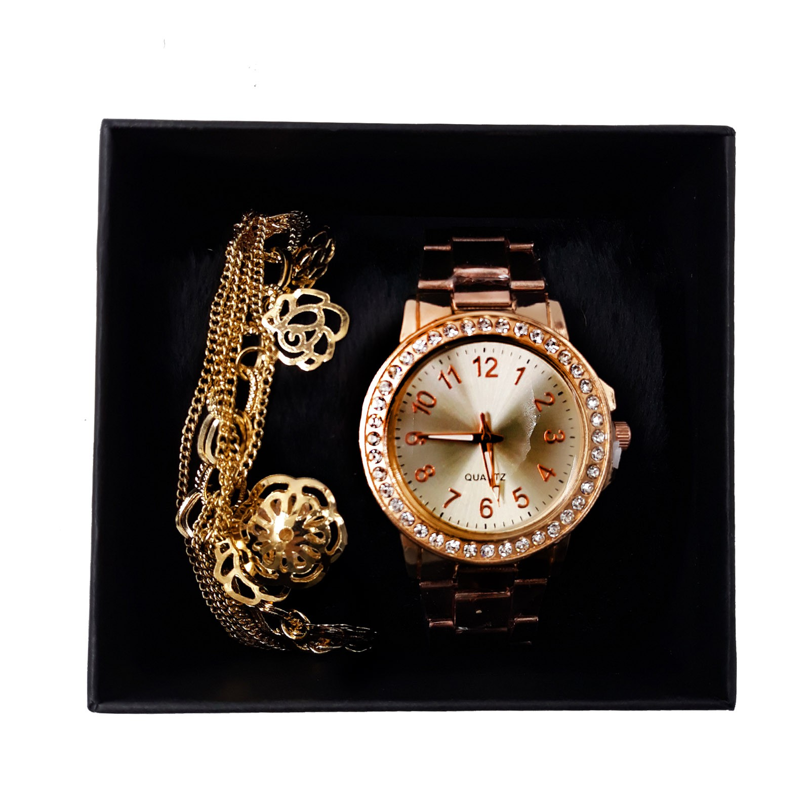 Relógio Quartz Cravejado com Pulseira