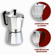 Cafeteira Italiana Alumínio faz 6 Xícaras Café Expresso