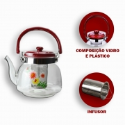 Chaleira de Vidro 1000 ml Florida + Infusor