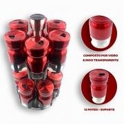 Jogo Porta Temperos Condimento Giratório Inox Vidro Vermelho