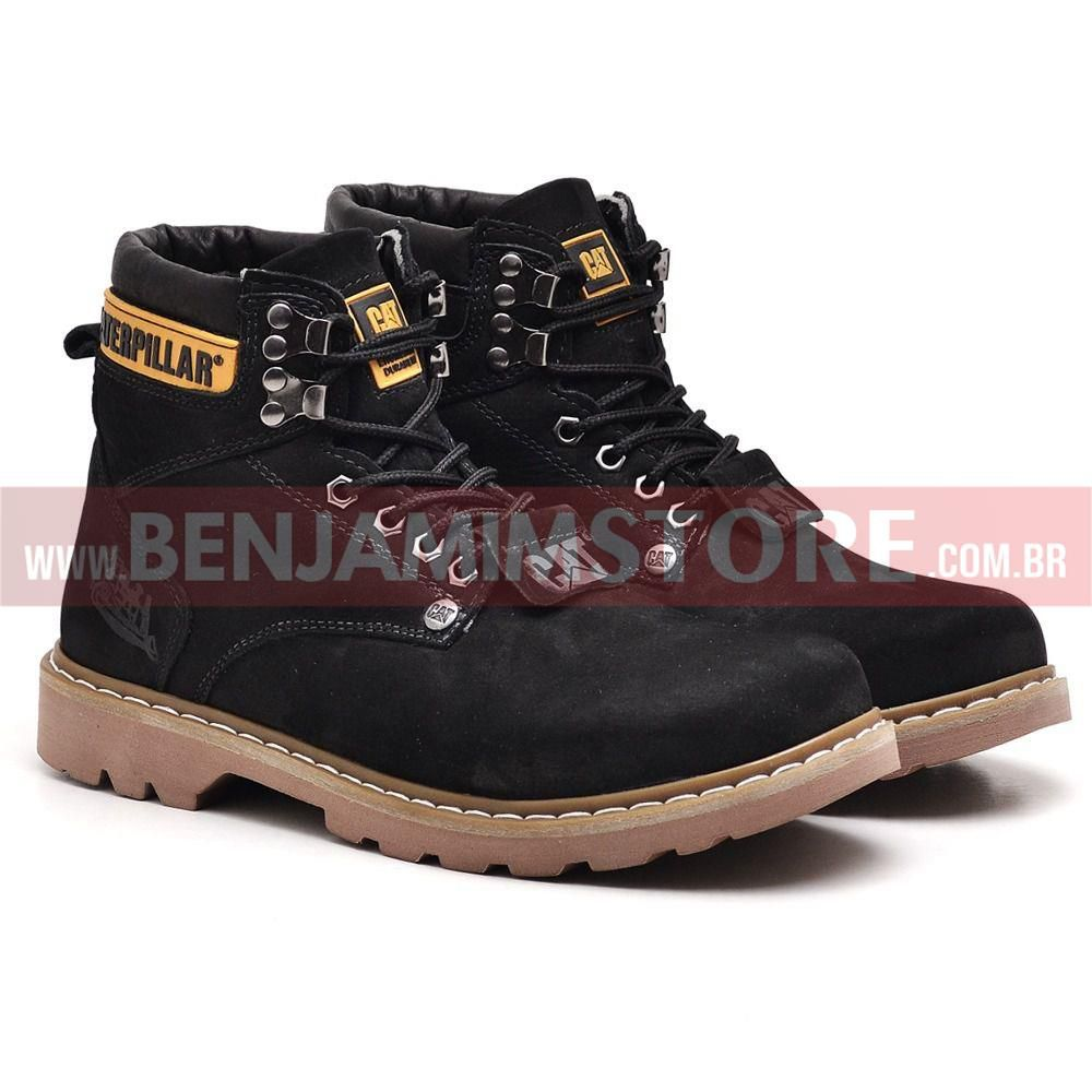 Bota Coturno Adventure Botina Caterp  Couro Cat Preto Original
