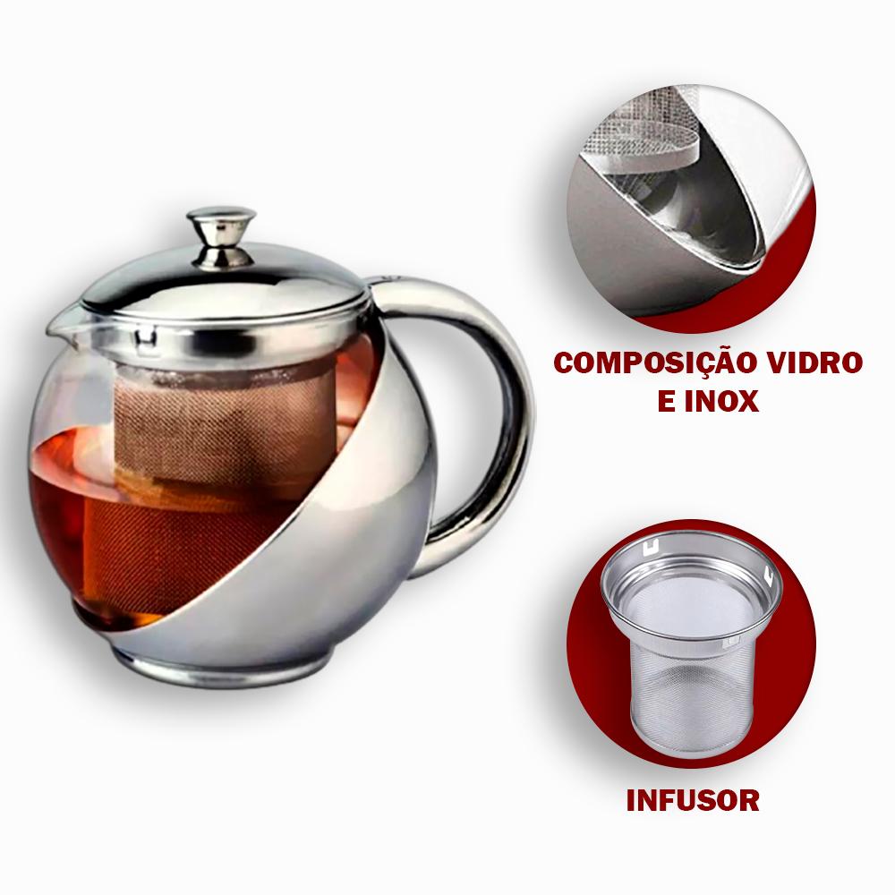 Chaleira Bule de Vidro 1000 ml com Infusor em Inox