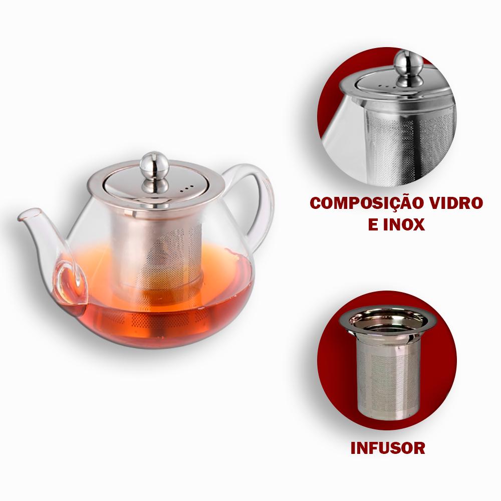 Chaleira Bule de Vidro 600 ml com Infusor em Inox
