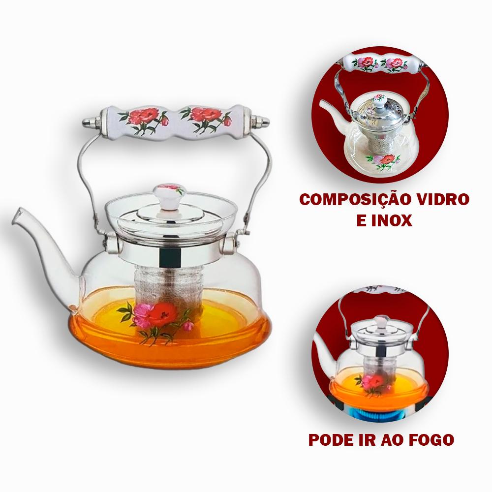 Chaleira de Vidro 1000 ml Florida com Infusor Inox
