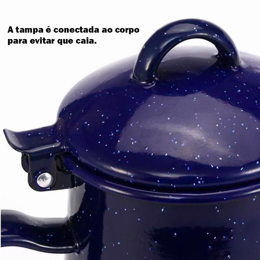 Chaleira Bule  Esmaltada em Alumínio 1.2L e 0.8L Azul Escuro