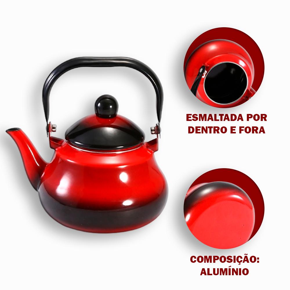 Chaleira Esmaltada em Alumínio 1.5L Vermelha