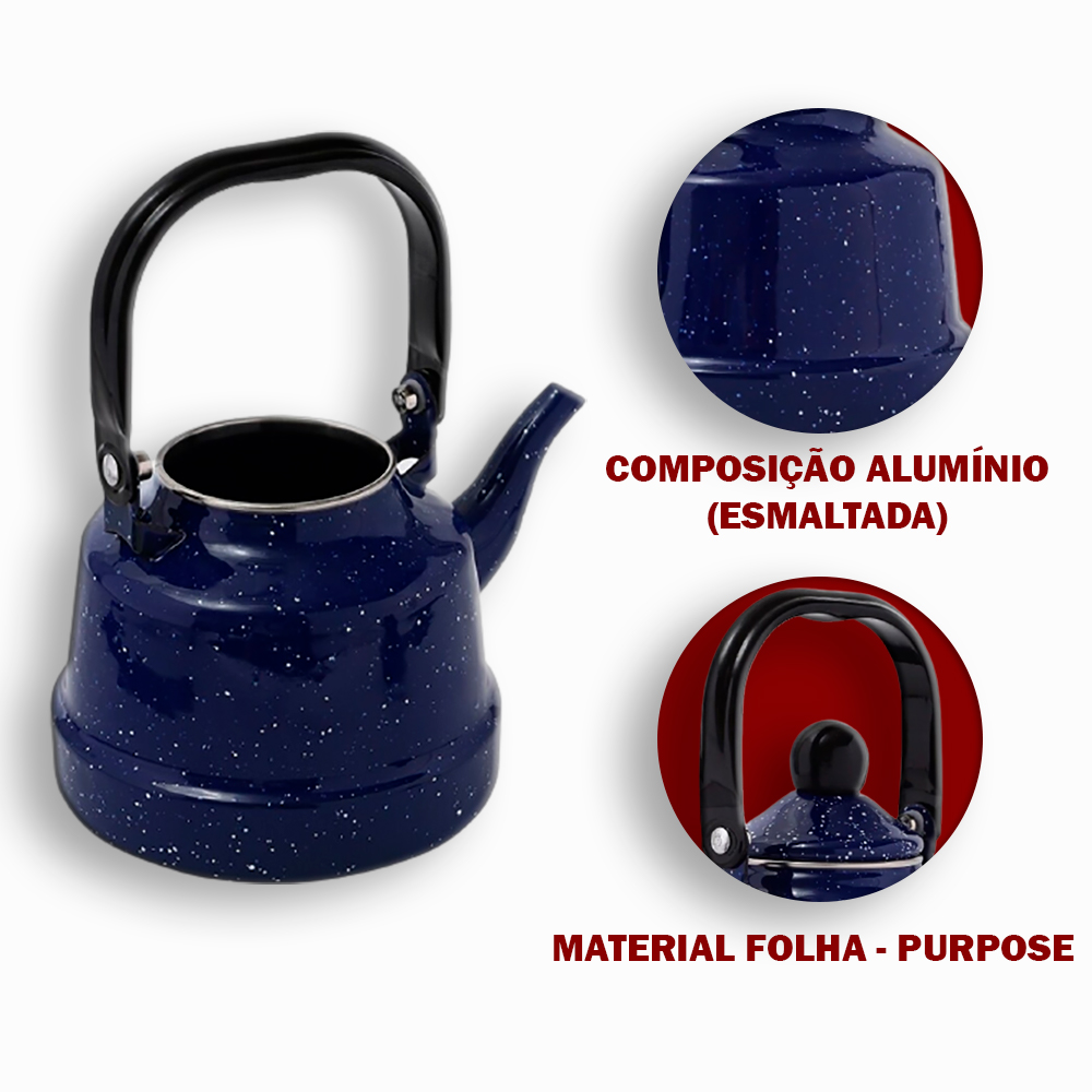 Chaleira  Esmaltada em Alumínio 1.7 L e 1.1L Azul Escuro