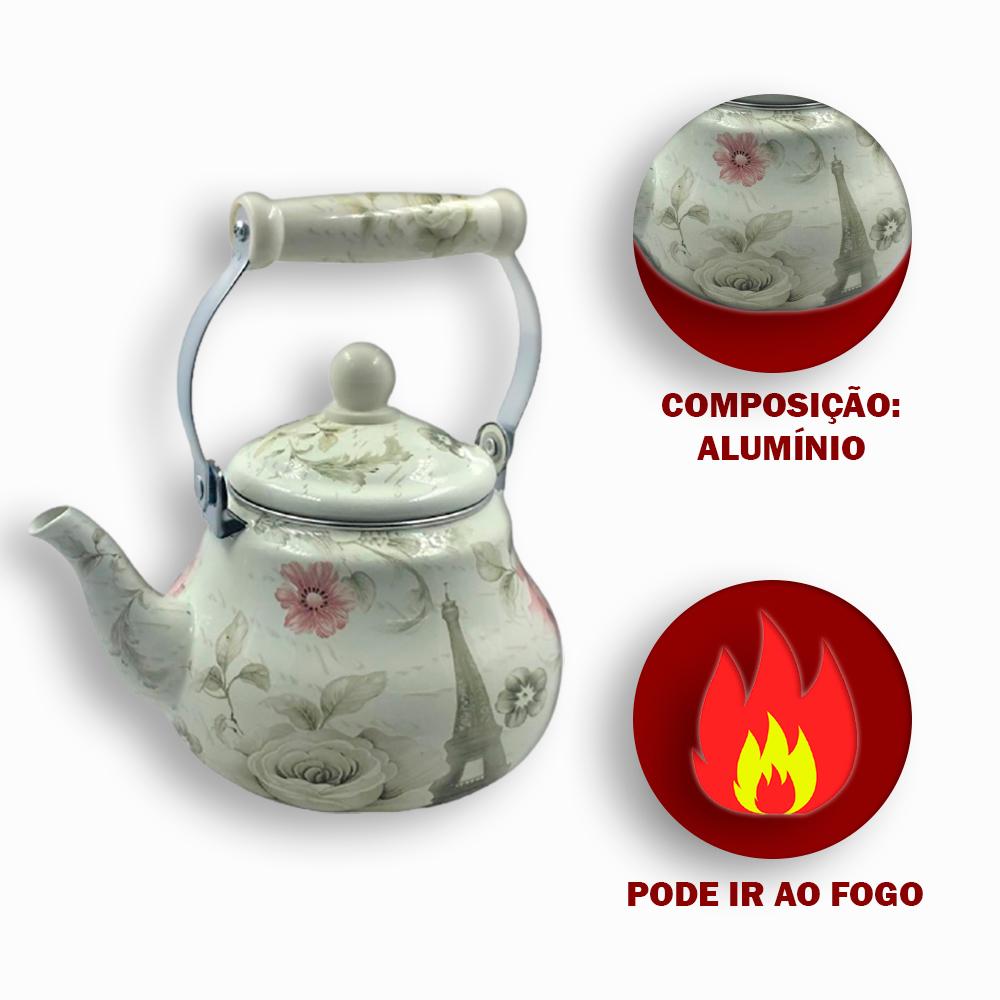 Chaleira Esmaltada em Alumínio com Decoração Florida 1.5 litros