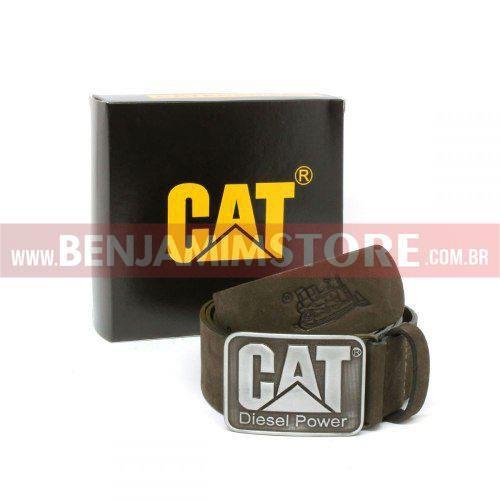 Cinto Cat em Couro Legítimo Diesel Power Marrom