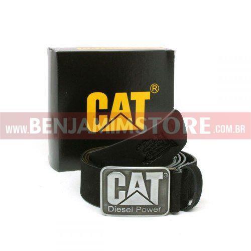 Cinto Cat em Couro Legítimo Diesel Power Preto