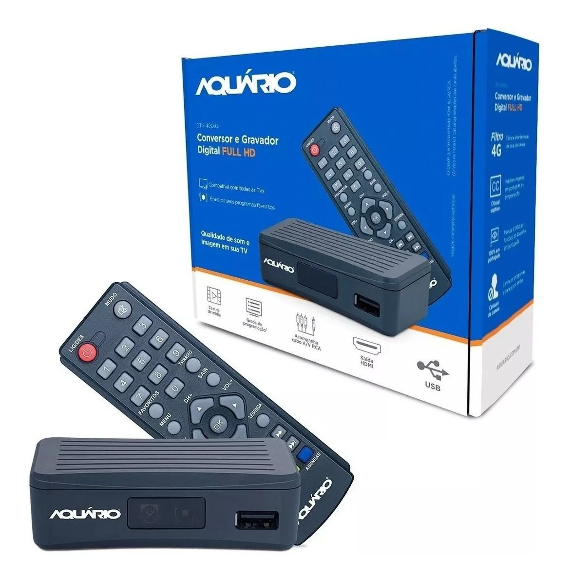 Conversor e Gravador Digital Full HD DTV 4000s Aquário