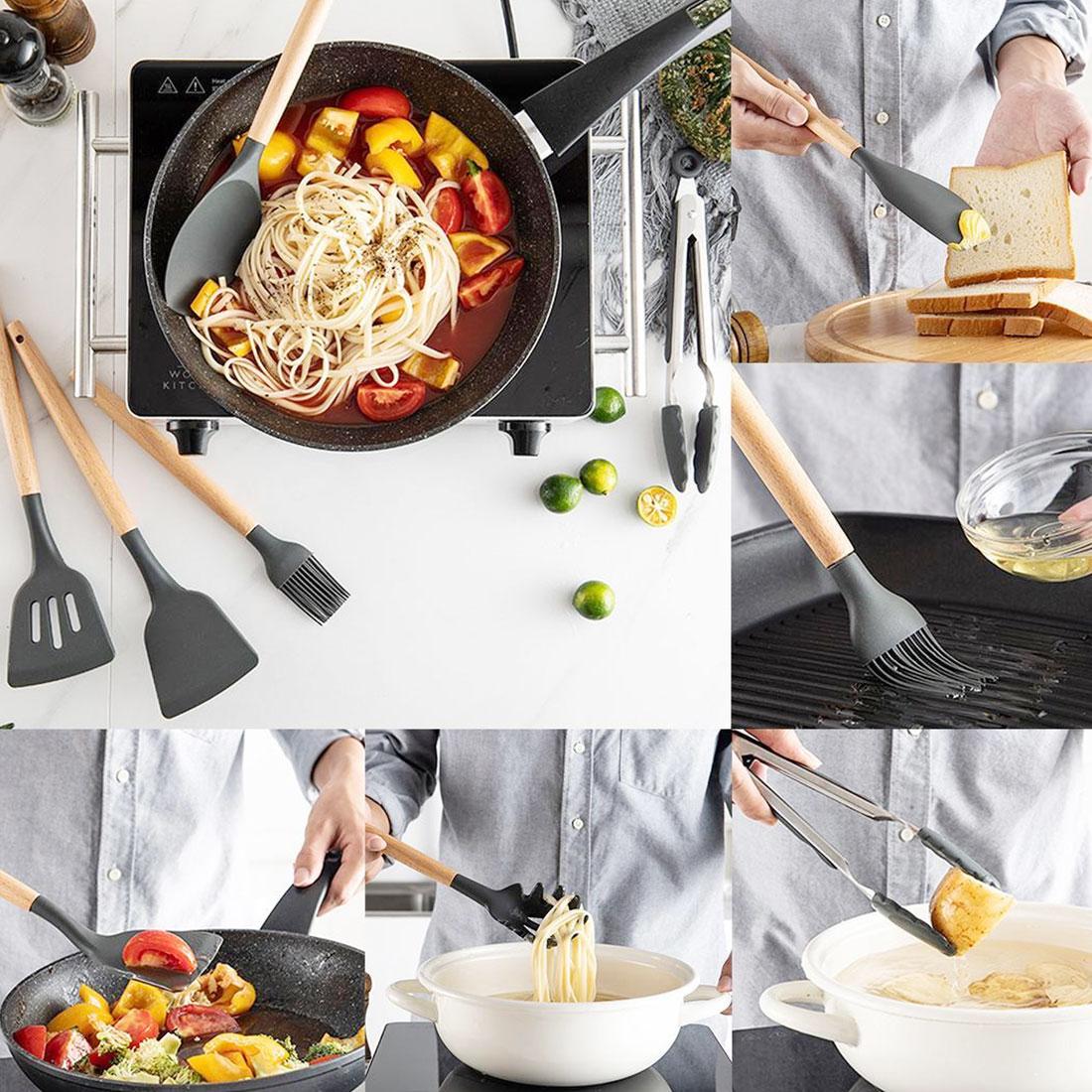 Jogo de Utensílios Talher Cozinha Restaurante em Silicone 12 Peças para cozinha