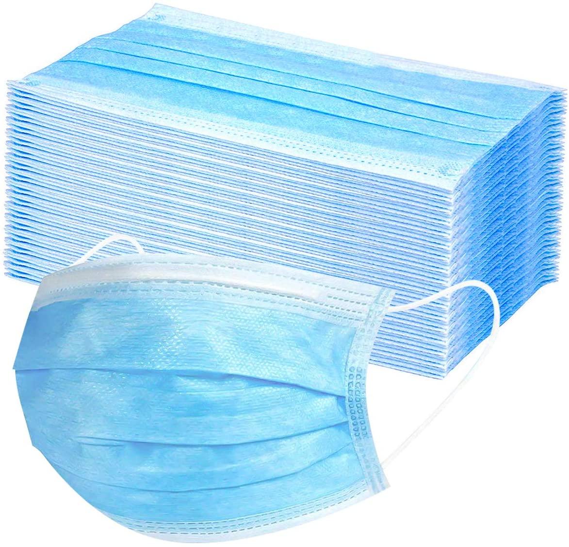 Máscara Descartável Tripla Camada Com Elástico - Pacote com 50 Unidades