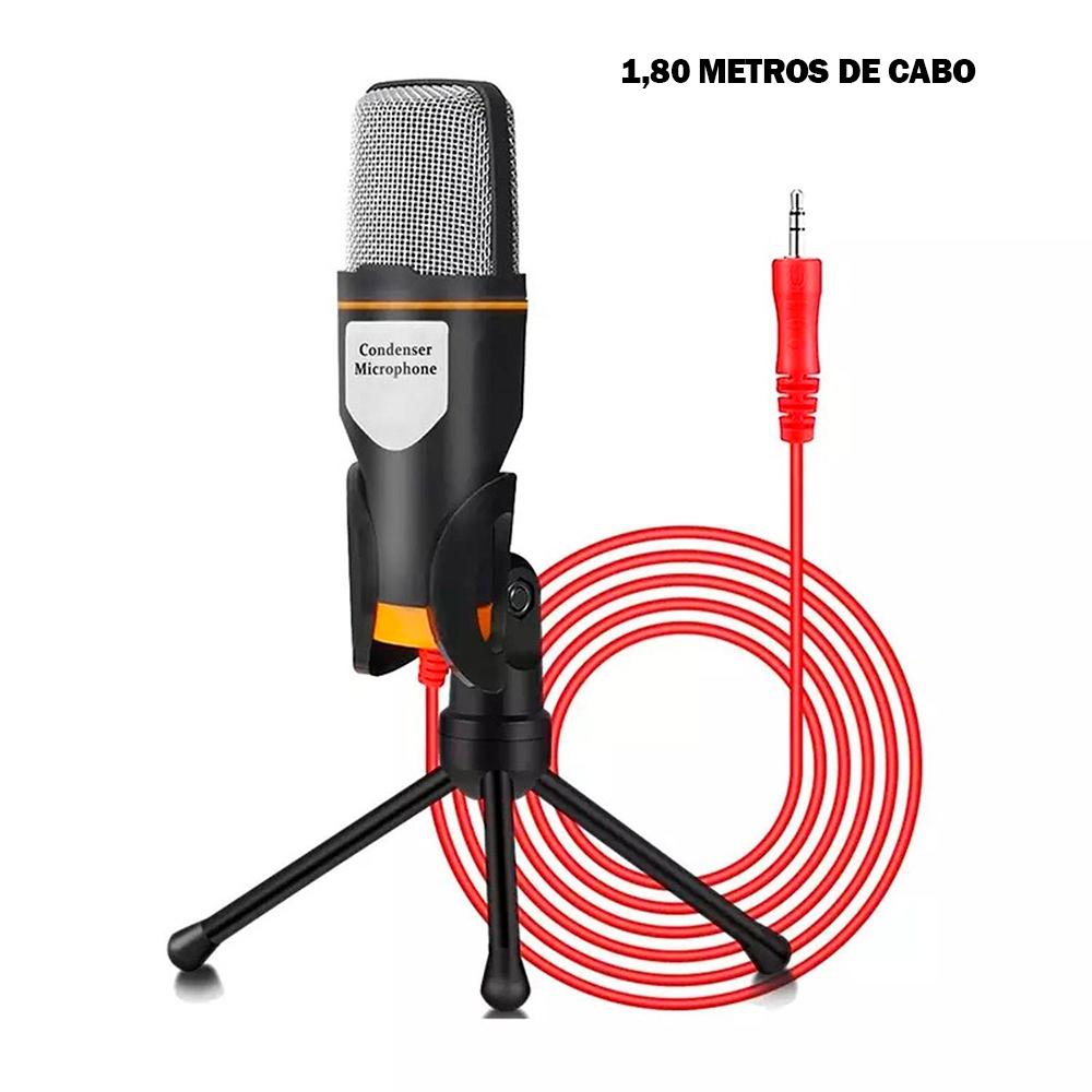 Microfone Tomate MTG-020 Condensador Preto + Tripé