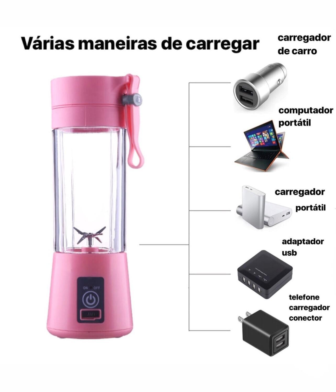 Mini Liquidificador Portátil USB 6 Lâminas