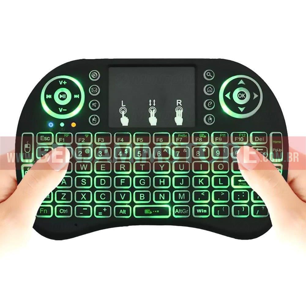 Mini Teclado Air Mouse Touch sem Fio Wireless com Led