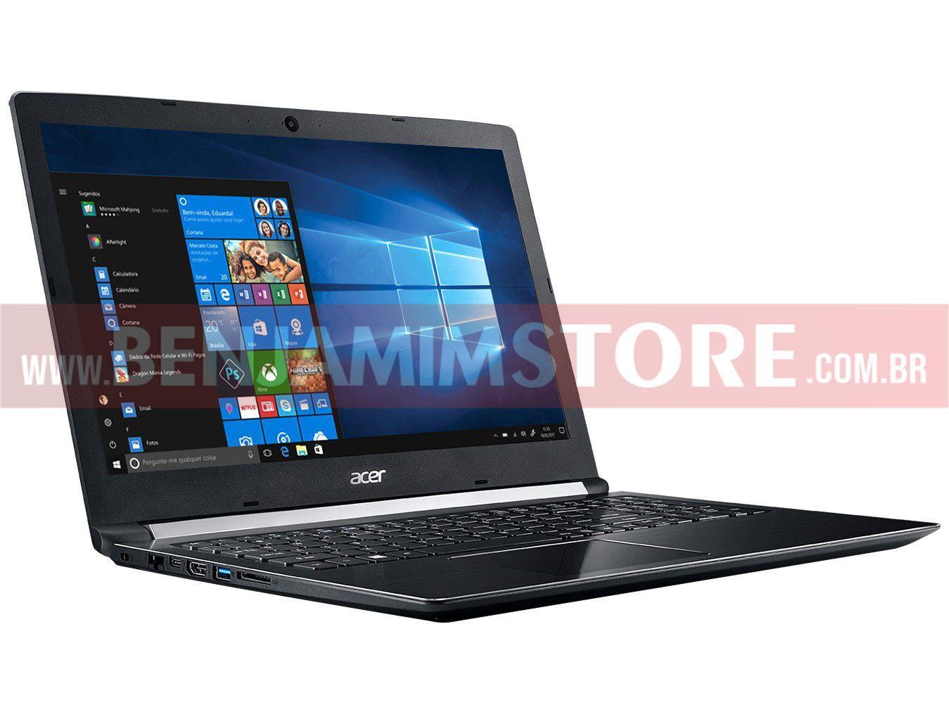Notebook Acer 15,6'' A315-53-52ZZ I5-7200U HD1TB 8GB W10H PRETO