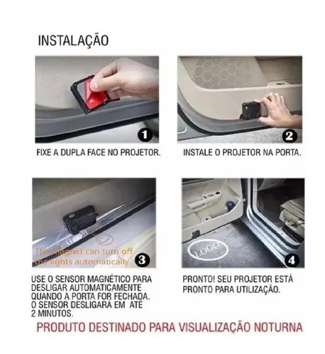 Projetor de Porta Automotiva Varias Marcas Luz Led