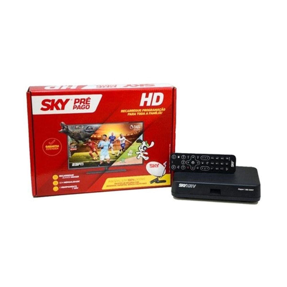 Receptor Sky Pré Pago HD + Recarga 12 Meses
