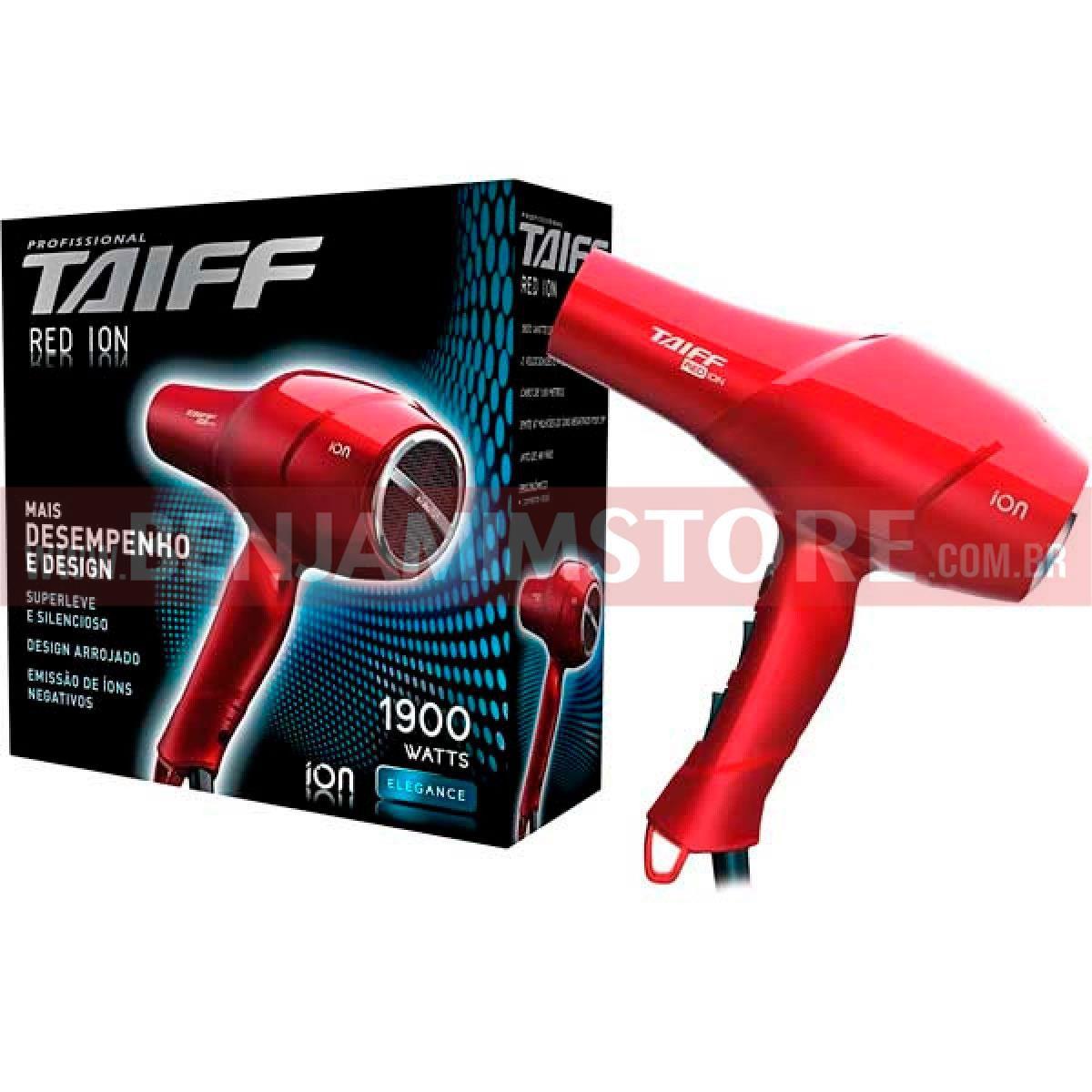Secador de Cabelo Taiff Red Ion Profissional Vermelho 1900w 127v ou 230 v
